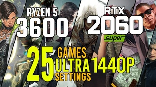 Ryzen 5 3600 + RTX 2060 SUPER in 25 games ultra settings 1440p benchmarks!