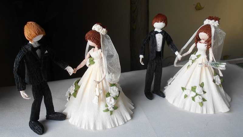 Dolls bride and Groom from crepe pаper DIY Master Class