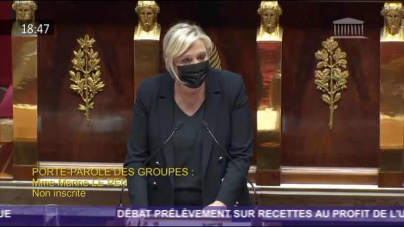 Marine Le Pen dénonce le poids exorbitant de la contribution française au budget de l'UE