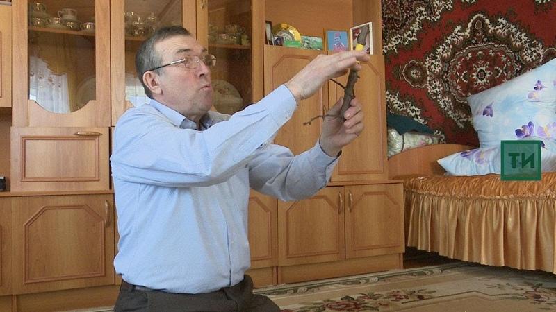 Арча районы Иске Йорт авылында яшәүче Хәнәфи Гәрәфиев агач ялгау ысулын күрсәтә