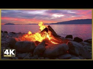 Relaxing Campfire by Lake at Sunset in 4k Ultra HD, Stress Relief, Meditation & Peaceful Deep Sleep