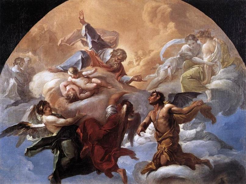 Сатана пред Господом — картина Коррадо Джаквиндо (Италия) (изображение с сайта https://ru.wahooart.com)