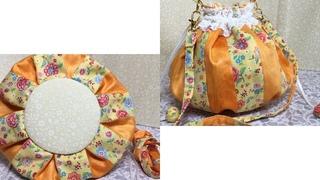 丸底巾着バッグ☆面倒な丸底も手縫いなら◎  The troublesome round bottom back can be easily sewn by hand.