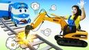 Видео про игры в игрушки машинки. Роботы Поезда и Клоун Соня. Паровозик Кей не может проехать!
