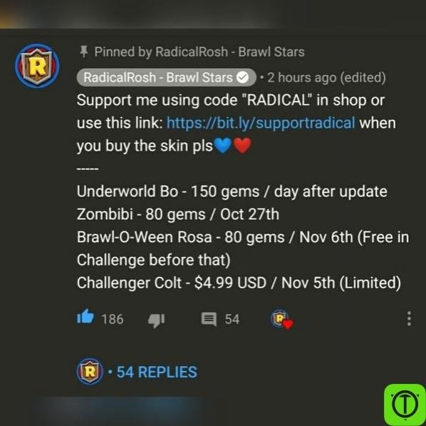 RadicalRosh отредактировал комментарий про цены скинов, в нем
