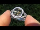 GIA CERT Estate 4 29 ct VVS Demantoid Garnet Diamond Vintage Ring 14K White Gold
