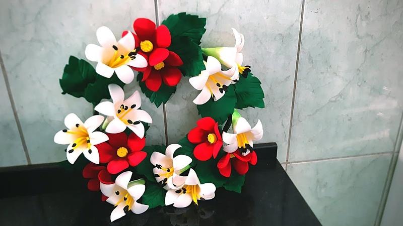 Ganhe dinheiro dia de finados fazendo essa coroa com flore de eva econômica bonita e barata