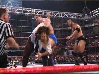 [WM] Ken Shamrock vs Mankind vs The Rock   Steel Cage   No  1 Contender For WWF Championship   Breakdown