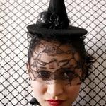 Шляпка ведьмы с вуалью из черного фетра