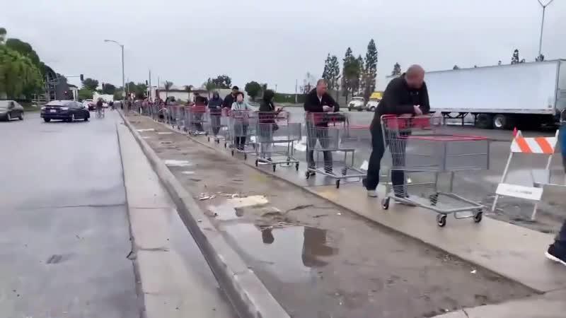Паника в калифорнии Коронавирус километровая очередь в супермаркет сша лос анджелес ESSoB6bYMtc