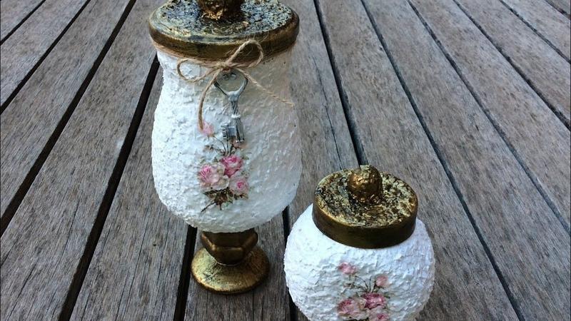 Frascos de vidrio decorados vintage / Vintage glass jar decorated (ENG SUB)