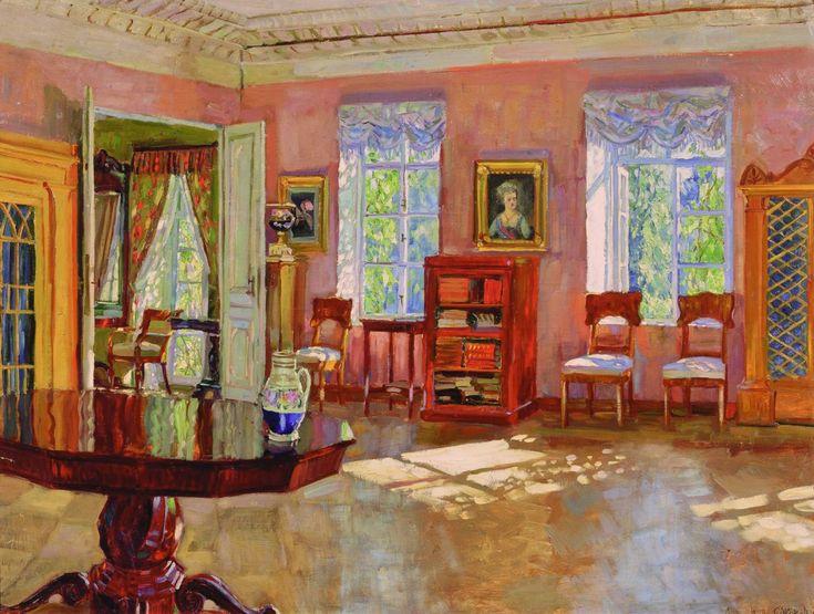 """Станислав Жуковский, """"Интерьер библиотеки"""", 1910-е."""