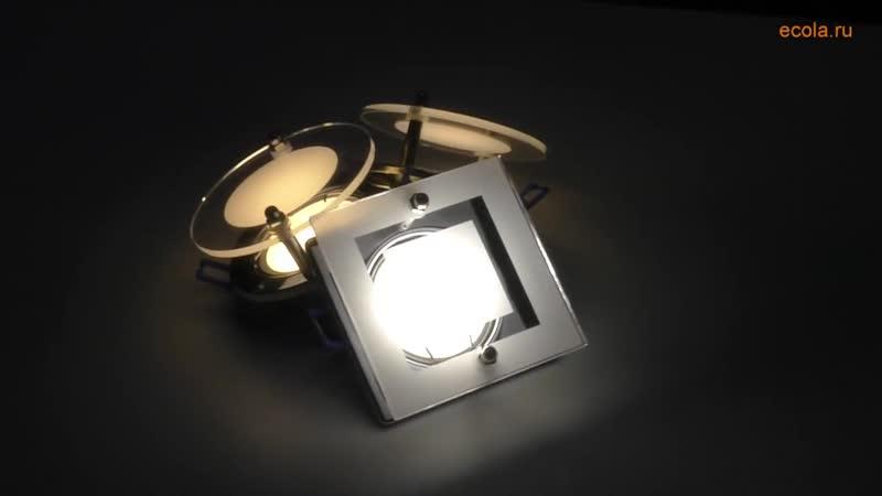Светильники Ecola MR16 круг и квадрат со стеклом
