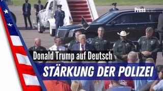 Präsident Donald Trump spricht in Tampa, Florida über die Stärkung der Polizei und Sheriffs.