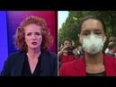 Bild Reporterin ist v. den Gegebenheiten traumatisiert,daß sie nicht mit Demonstranten sprechen kann