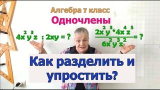 Алгебра 7. Деление одночленов.Свойство деления степеней с одинаковым основанием.Упрощение выражений.