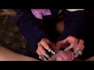Japanese long nails slow tease and handjob