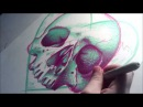 Neon Death 3 - Timelapse Sharpie Drawing of a Pop Art Skull By Carissa Rose - Speed Drawing