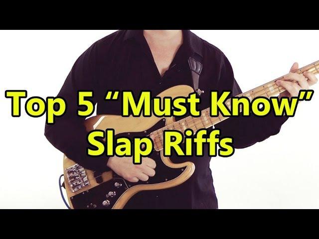 Top 5 'Must Know' Slap Riffs HD Bass Lesson inc Flea Mark King Larry Graham