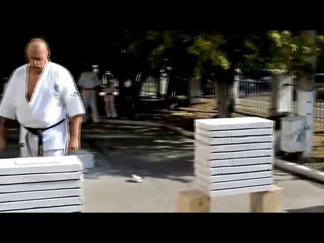 Спорт-выбор сильных. Разбивание бетонных блоков. Киокушинкай карате. Тамешивари