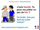 French Lesson 174 I'M BROKE Informal French dialogue conversation Slang words expressions Argot
