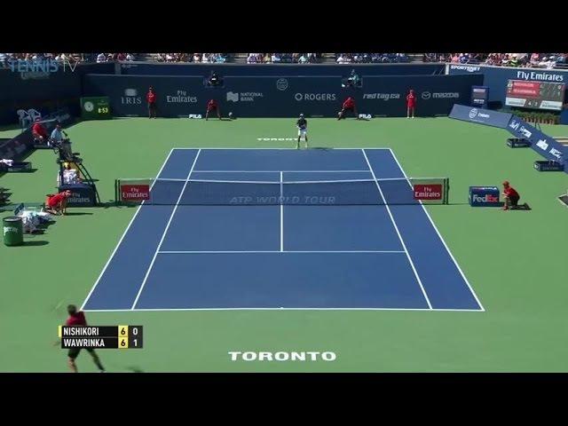 Nishikori - Wawrinka tie-breaker epic point, RogersCup SF 2016