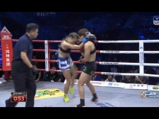 Korina Papachrysanthou (Greece) vs Wang Kehan (China) - Kunlun Fight 54 Women's kickboxing 10/30
