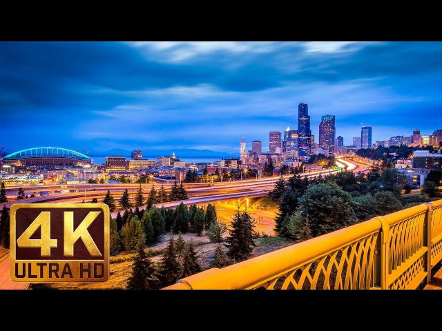 4K Urban Relaxation Video 1 5 Hours City Sounds Night Seattle from Dr Jose Rizal Park