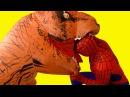 Человек Паук и Эльза Холодное Сердце мультик - Тирекс Динозавр съел Эльзу Челове