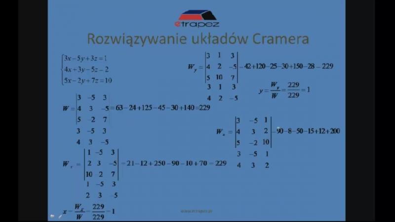 Lekcja 6 Równania liniowe Cramer chomik reflex