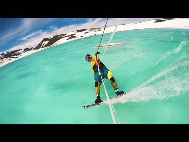 Kiteboarding in the caldera of the active volcano Gorely Kiteteam Kamchatka