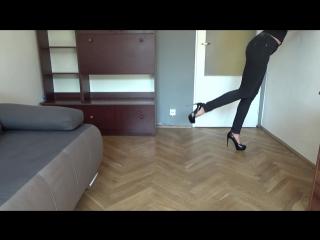 New, black, shiny high heels stiletto shoes