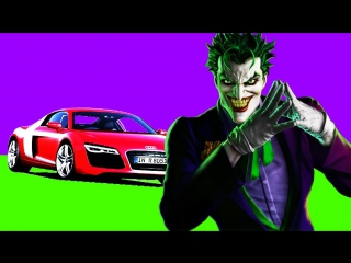 Learn colors cartoon 3d for kids with superheroes on cars joker, flash, batman | nursery rhymes