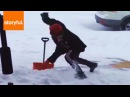 Ridiculous Slip While Shoveling Snow