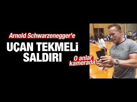 Arnold Schwarzeneggere uçan tekmeli saldırı kamerada! haberler282