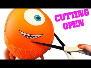 Cutting Open ORANGE MONSTER Stress Ball - What's Inside Squishy Satisfying Video ASMR