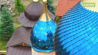 Освещение и установка куполов храма