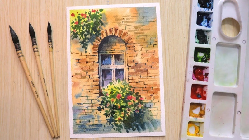 Watercolor painting for beginners beautiful flower and window