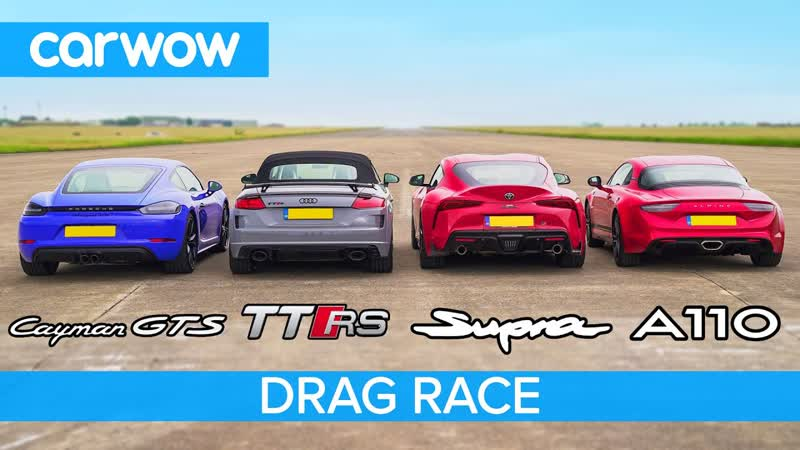Supra vs Cayman GTS vs TT RS vs Alpine A110 - DRAG RACE, ROLLING RACE BRAKE TEST (2160p_25fps_VP9 LQ-128kbit_AAC)