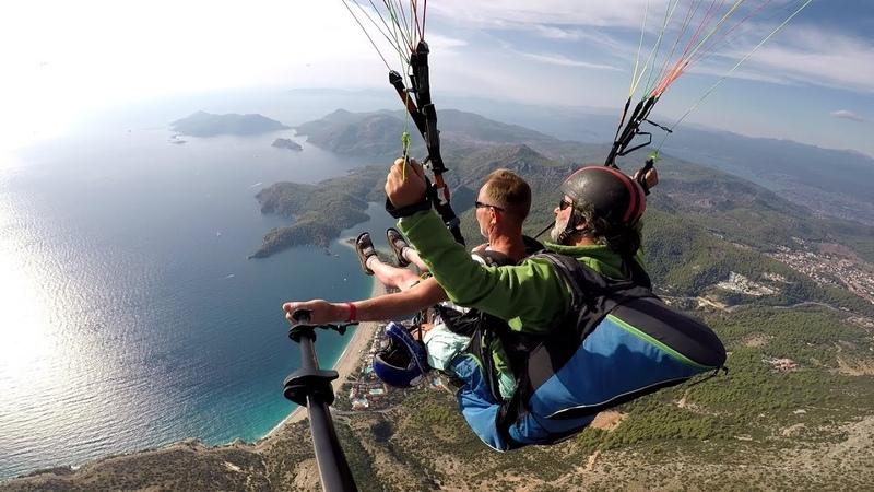 Фигура пилотажа или полет с горы Бабадаг на параплане