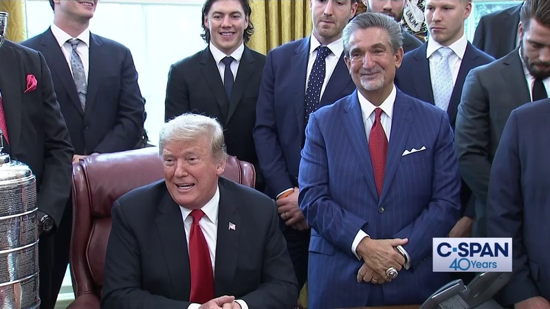 Stanley Cup Champion Washington Capitals visit President Trump in the Oval Office (C-SPAN)
