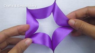 Hand Embroidery, Easy Ribbon Flower Making Idea, Ribbon Tricks