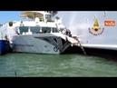 Scontro a Venezia fra nave da crociera e battello turistico le verifiche dei vvf dopo l'incidente