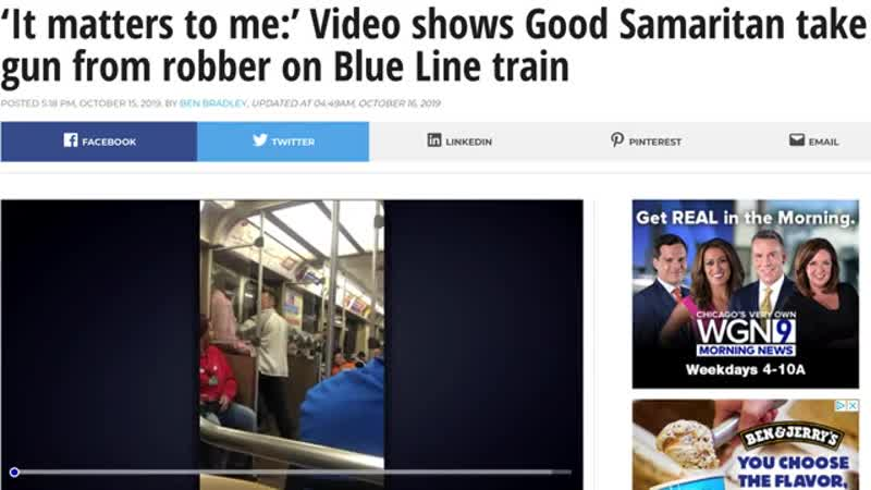 Old White dude stops a robbery by taking a gun from a fella on the subway