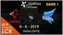 GRF VS AFS Game 1 Highlights LCK Summer 2019 Week 1 Day 2 Griffin vs Afreeca Freecs