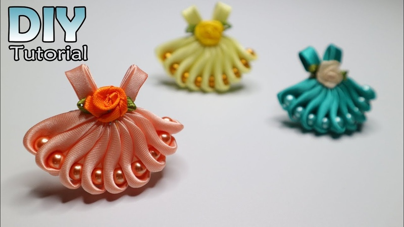 DIY How to make kanzashi little dress Satin ribbon Hair clips Bros Gaun Jepit rambut