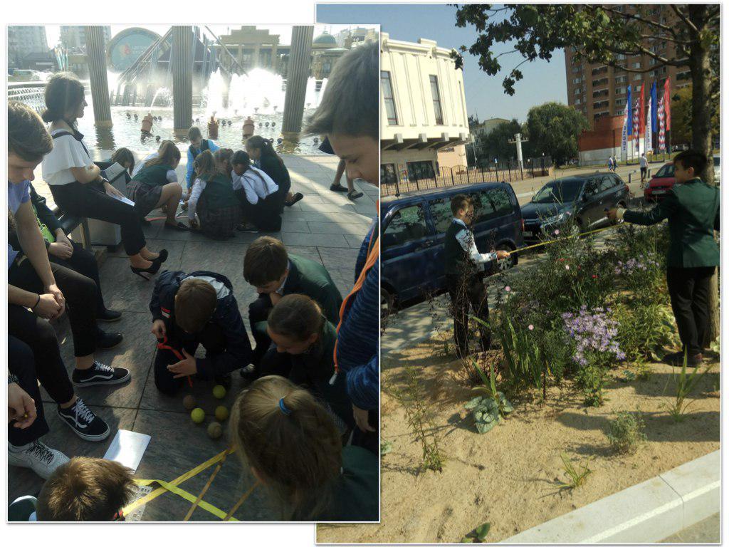 Для пятиклассников из школы № 1208 провели урок математики на улице