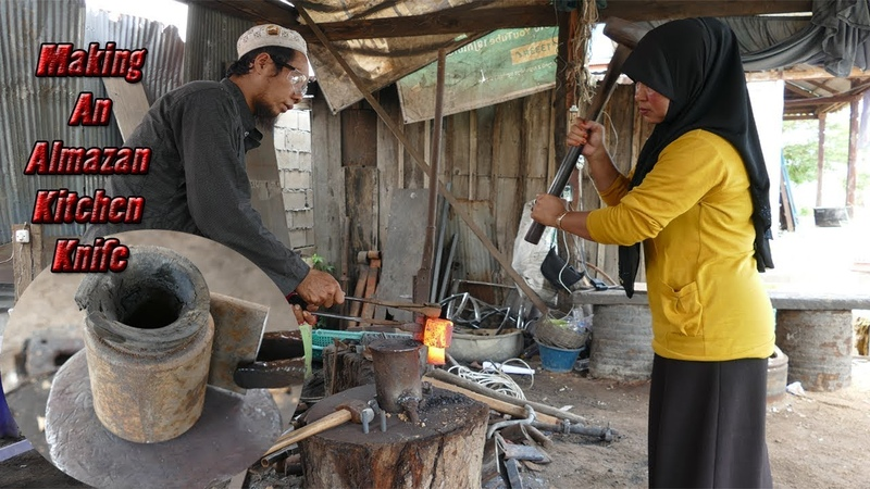 Making An Almazan Kitchen Knife By Blacksmith And His Wife/Cut Nails With It (Watch To Support Her)