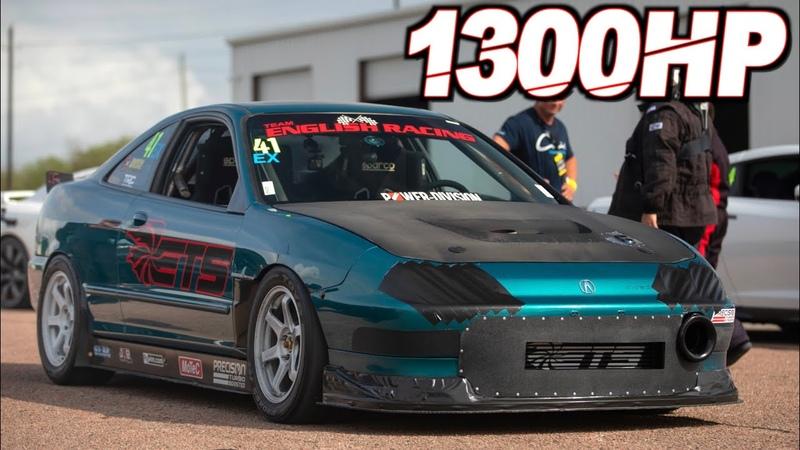 1300HP Integra FWD 4cyl on 55PSI 1300HP Evo X Worlds Fastest ROWDY Stick Shift Racing