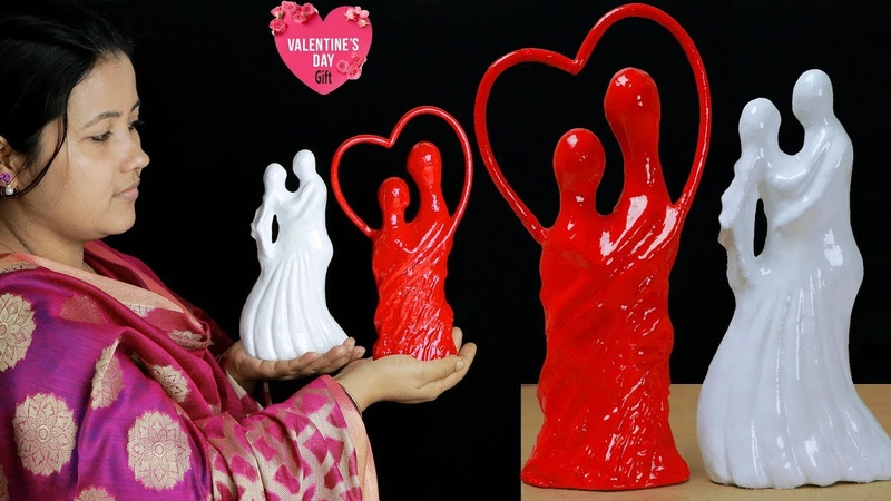 Valentines day gift idea with paper Couple sculpture Art and craft Paper Crafts